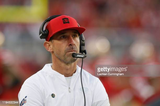 Head coach Kyle Shanahan of the San Francisco 49ers looks on from the sideline in the fourth quarter against the Atlanta Falcons at Levi's Stadium on...