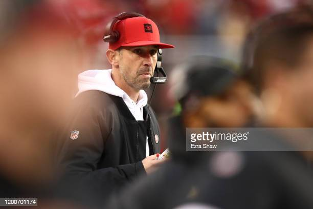 Head coach Kyle Shanahan of the San Francisco 49ers looks on from the sidelines during the NFC Championship game against the Green Bay Packers at...