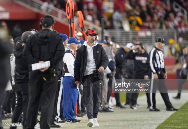 Head coach Kyle Shanahan of the San Francisco 49ers looks on from the sidelines against the Green Bay Packers in the second half during the NFC...
