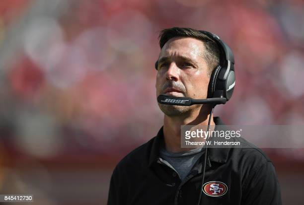Head coach Kyle Shanahan of the San Francisco 49ers looks on from the sidelines against the Carolina Panthers during the third quarter of their NFL...