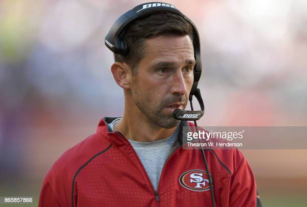Head coach Kyle Shanahan of the San Francisco 49ers looks on from the sidelines during their NFL football game against the Dallas Cowboys at Levi's...