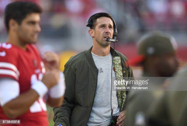 Head coach Kyle Shanahan of the San Francisco 49ers looks on from the sidelines against the New York Giants during their NFL football game at Levi's...