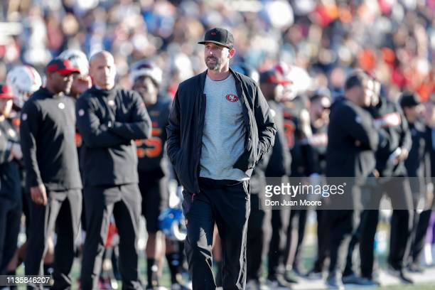 Head Coach Kyle Shanahan of the San Francisco 49ers of the South Team during the 2019 Reese's Senior Bowl at LaddPeebles Stadium on January 26 2019...