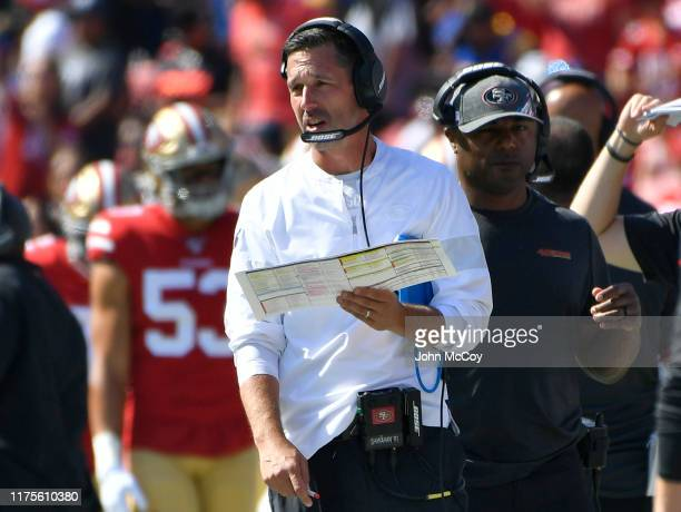Head coach Kyle Shanahan of the San Francisco 49ers on the sideline while playing the Los Angeles Rams at Los Angeles Memorial Coliseum on October 13...