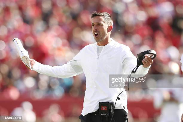 Head coach Kyle Shanahan of the San Francisco 49ers reacts against the Carolina Panthers during the second quarter at Levi's Stadium on October 27...