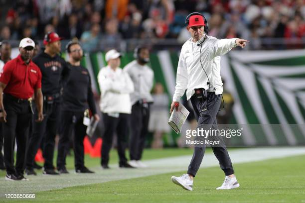 Head coach Kyle Shanahan of the San Francisco 49ers reacts against the Kansas City Chiefs during the second quarter in Super Bowl LIV at Hard Rock...