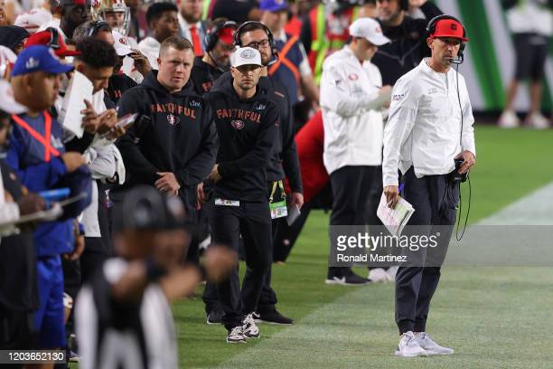 Head coach Kyle Shanahan of the San Francisco 49ers reacts against the Kansas City Chiefs during the third quarter in Super Bowl LIV at Hard Rock...