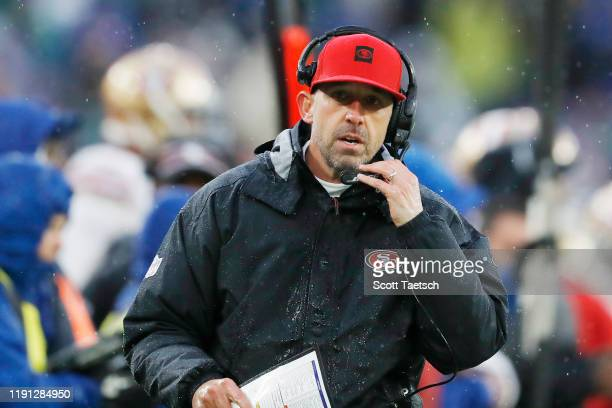 Head coach Kyle Shanahan of the San Francisco 49ers reacts during the first half against the Baltimore Ravens at M&T Bank Stadium on December 01,...