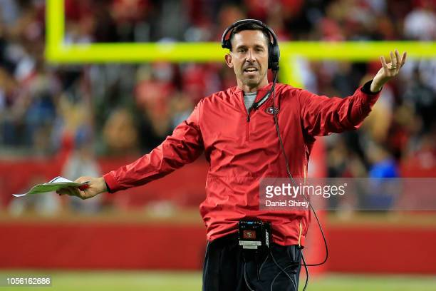 Head coach Kyle Shanahan of the San Francisco 49ers reacts to a call during their NFL game against the Oakland Raiders at Levi's Stadium on November...