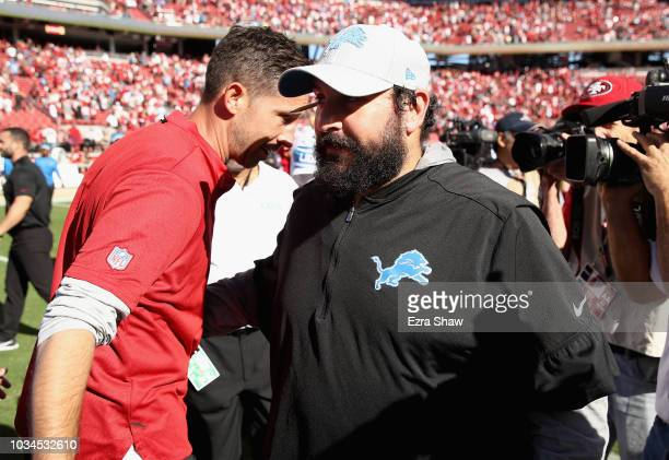 Head coach Kyle Shanahan of the San Francisco 49ers shakes hands with head coach Matt Patricia of the Detroit Lions after their game at Levi's...