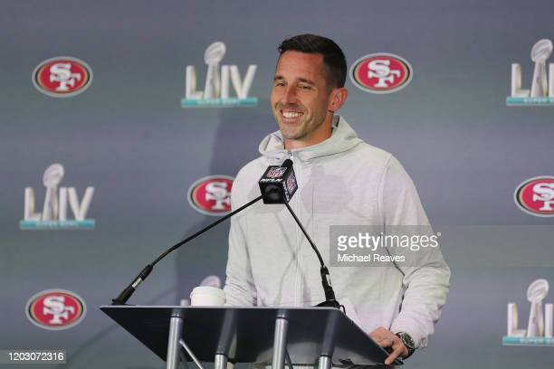 Head coach Kyle Shanahan of the San Francisco 49ers speaks to the media during the San Francisco 49ers media availability prior to Super Bowl LIV at...