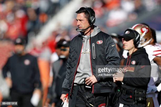 Head coach Kyle Shanahan of the San Francisco 49ers stands on the sidelines in the first quarter against the Chicago Bears at Soldier Field on...
