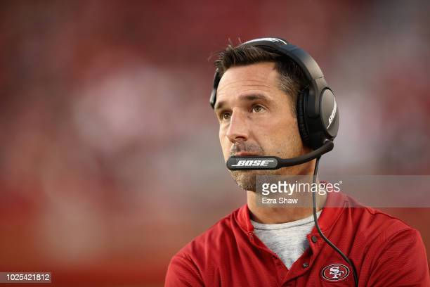 Head coach Kyle Shanahan of the San Francisco 49ers stands on the sidelines during their preseason game against the Los Angeles Chargers at Levi's...