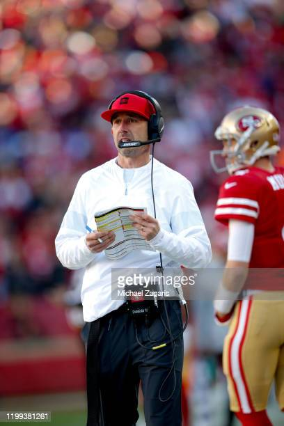 Head Coach Kyle Shanahan of the San Francisco 49ers stands on the sideline during the game against the Minnesota Vikings at Levi's Stadium on January...