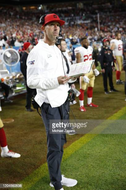 Head Coach Kyle Shanahan of the San Francisco 49ers stands on the sideline before the game against the Kansas City Chiefs in Super Bowl LIV at Hard...