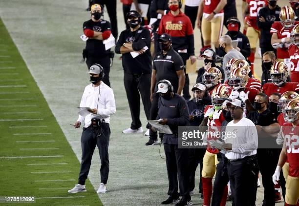 Head coach Kyle Shanahan of the San Francisco 49ers stands on the sidelines against the Philadelphia Eagles at Levi's Stadium on October 04, 2020 in...