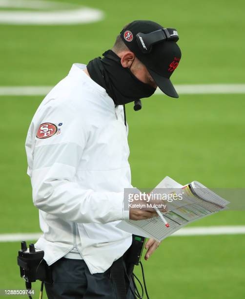 Head coach Kyle Shanahan of the San Francisco 49ers stands on the sideline during the second half against the Los Angeles Rams at SoFi Stadium on...