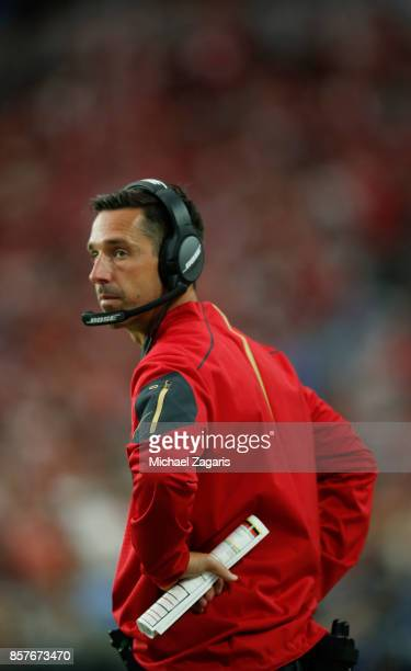 Head Coach Kyle Shanahan of the San Francisco 49ers stands on the sideline during the game against the Arizona Cardinals at the University of Phoenix...
