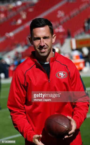 Head Coach Kyle Shanahan of the San Francisco 49ers stands on the field prior to the game against the Arizona Cardinals at Levi's Stadium on November...