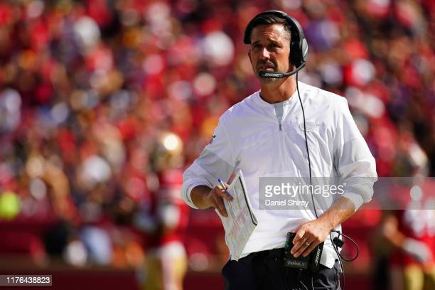 Head coach Kyle Shanahan of the San Francisco 49ers walks down the sidelines during the second half against the Pittsburgh Steelers at Levi's Stadium...