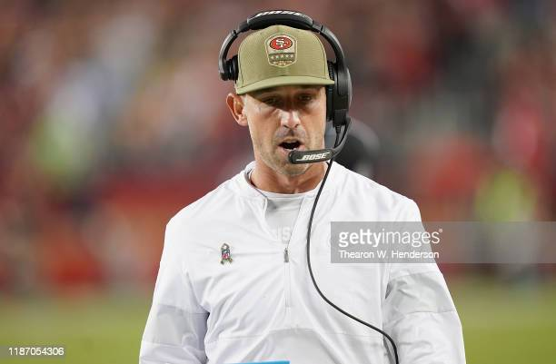 Head coach Kyle Shanahan of the San Francisco 49ers walks on the sidelines in the gameagainst the Seattle Seahawks at Levi's Stadium on November 11,...