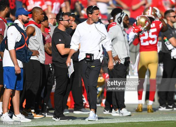 Head coach Kyle Shanahan of the San Francisco 49ers walks the sideline in the second half against the Los Angeles Rams at Los Angeles Memorial...