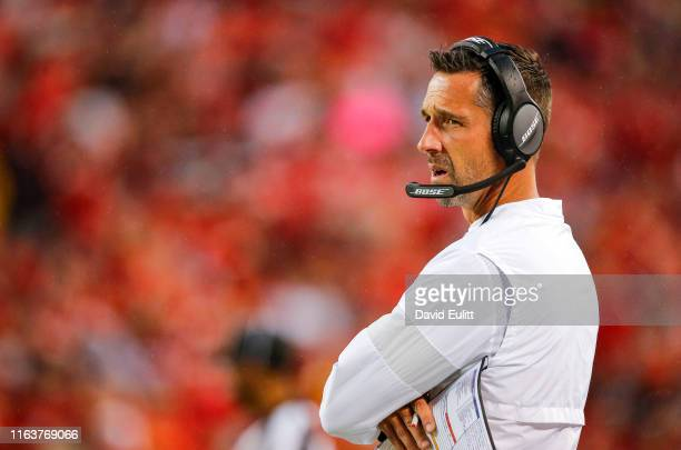 Head coach Kyle Shanahan of the San Francisco 49ers watches action from the sidelines during preseason action against the Kansas City Chiefs at...