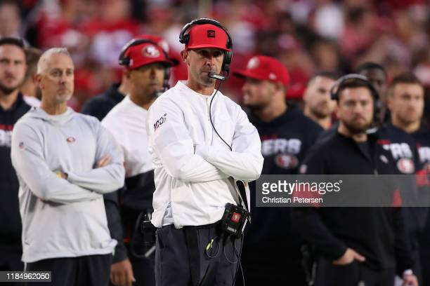 Head coach Kyle Shanahan of the San Francisco 49ers watches from the sidelines during the first half of the NFL game against the Arizona Cardinals at...