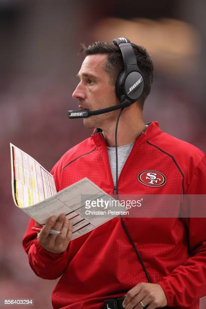 Head coach Kyle Shanahan of the San Francisco 49ers watches the action during the first half of the NFL game against the Arizona Cardinals at the...