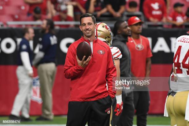 Head coach Kyle Shanahan of the San Francisco 49ers watches warm ups before the start of the NFL game against the Arizona Cardinals at the University...