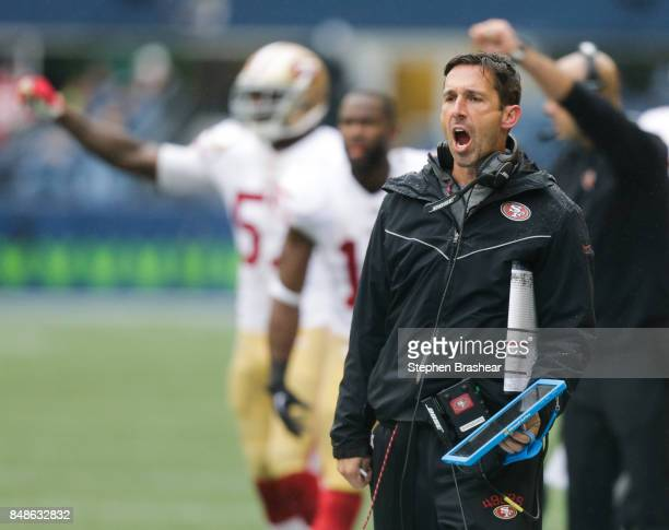 Head coach Kyle Shanahan of the San Francisco 49ers yells after a call during the second half of the game against the Seattle Seahawks at CenturyLink...