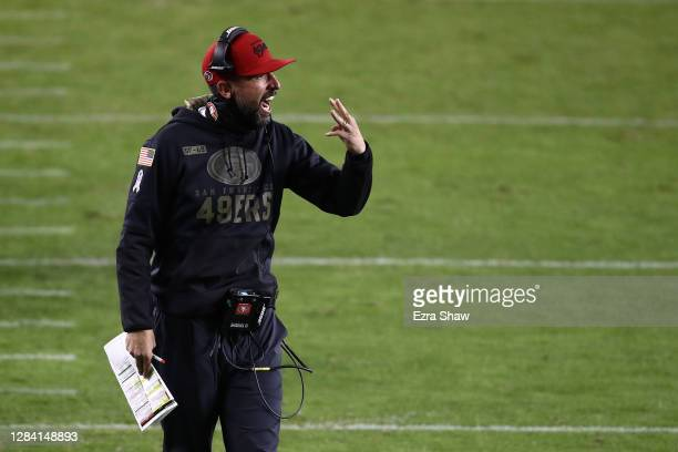 Head coach Kyle Shanahan of the San Francisco 49ers yells to his team during the second quarter against the Green Bay Packers at Levi's Stadium on...