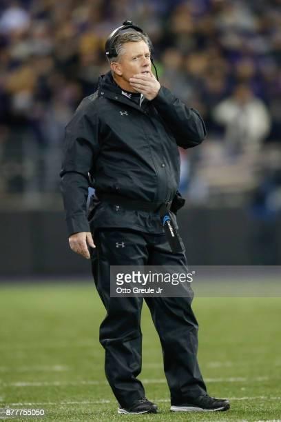 Head coach Kyle Whittingham of the Utah Utes looks on against the Washington Huskies at Husky Stadium on November 18 2017 in Seattle Washington