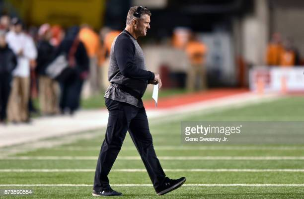 Head coach Kyle Whittingham of the Utah Utes walks on to the field during their game against the Washington State Cougars at RiceEccles Stadium on...