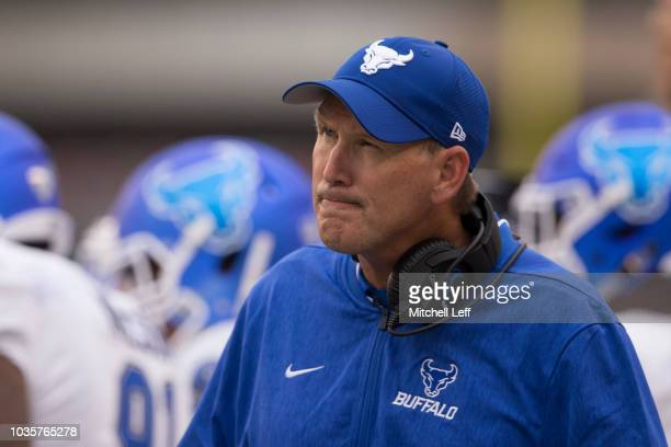 Head coach Lance Leipold of the Buffalo Bulls looks on against the Temple Owls at Lincoln Financial Field on September 8 2018 in Philadelphia...
