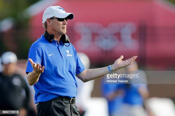 Head coach Lance Leipold of the Buffalo Bulls looks on against the Miami Ohio Redhawks at Yager Stadium on October 21 2017 in Oxford Ohio