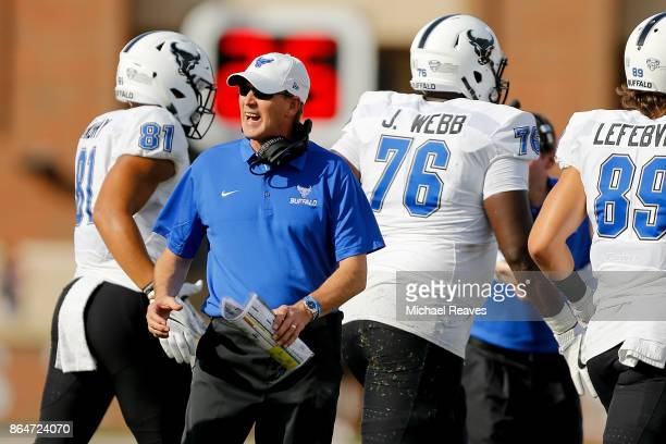 Head coach Lance Leipold of the Buffalo Bulls reacts against the Miami Ohio Redhawks during the first half at Yager Stadium on October 21 2017 in...