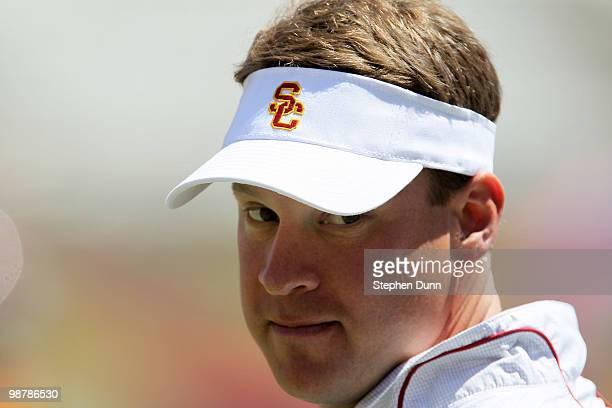 Head coach Lane Kiffin looks on during the USC Trojans spring game on May 1 2010 at the Los Angeles Memorial Coliseum in Los Angeles California