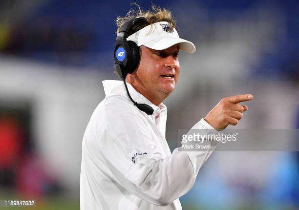 Head Coach Lane Kiffin of the Florida Atlantic Owls coaching against the FIU Golden Panthers in the second half at FAU Stadium on November 09 2019 in...