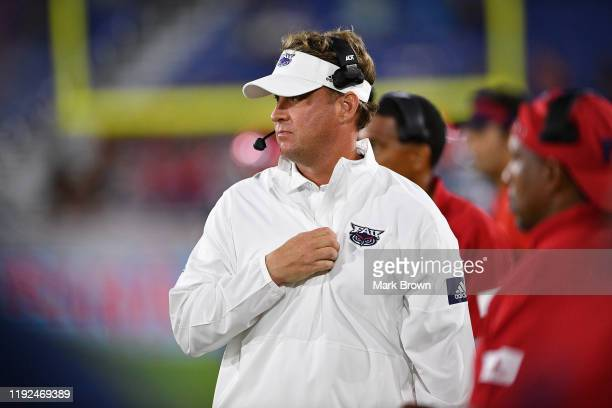 Head Coach Lane Kiffin of the Florida Atlantic Owls in action against the Southern Miss Golden Eagles in the second half at FAU Stadium on November...