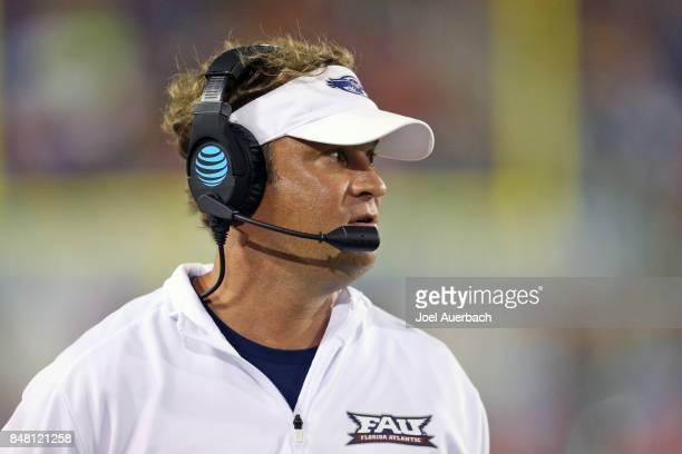 Head coach Lane Kiffin of the Florida Atlantic Owls looks during third quarter action against the Bethune Cookman Wildcats on September 16 2017 at...