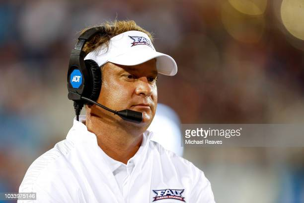 Head coach Lane Kiffin of the Florida Atlantic Owls looks on against the Bethune Cookman Wildcats during the second half at FAU Stadium on September...
