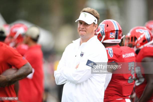Head Coach Lane Kiffin of the Florida Atlantic Owls looks on before the game against the Middle Tennessee Blue Raiders in the first half at FAU...