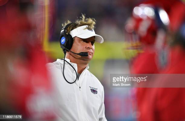 Head Coach Lane Kiffin of the Florida Atlantic Owls looks on during the game against the FIU Golden Panthers at FAU Stadium on November 09 2019 in...