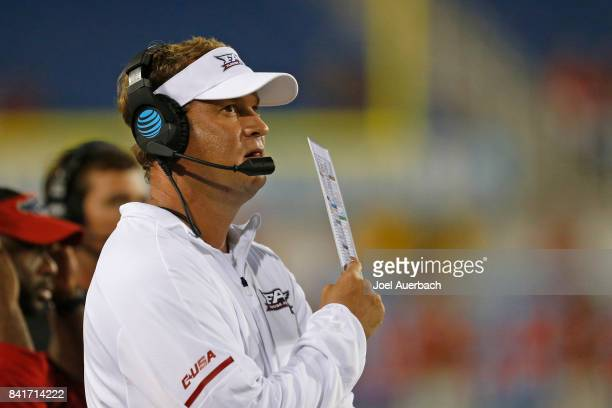 Head coach Lane Kiffin of the Florida Atlantic Owls looks on during 4th quarter action against the Navy Midshipmen on September 1 2017 at FAU Stadium...