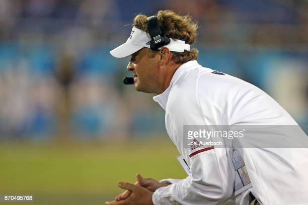 Head coach Lane Kiffin of the Florida Atlantic Owls looks on during third quarter action against the Marshall Thundering Herd at FAU Stadium on...
