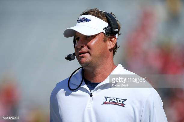 Head coach Lane Kiffin of the Florida Atlantic Owls looks on in the first quarter against the Wisconsin Badgers at Camp Randall Stadium on September...