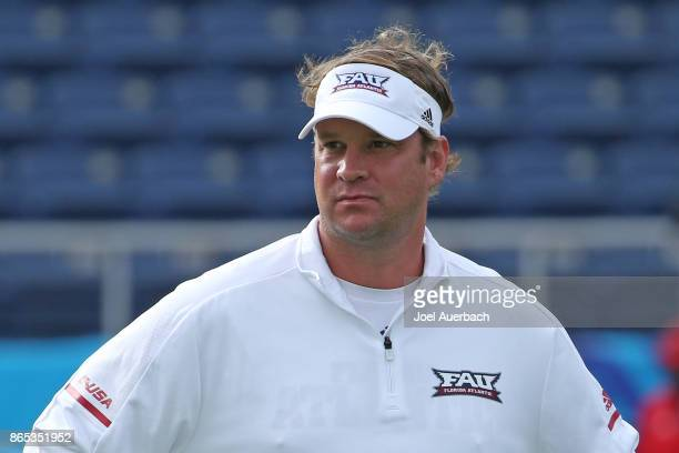 Head coach Lane Kiffin of the Florida Atlantic Owls looks on prior to the game against the North Texas Mean Green on October 21 2017 at FAU Stadium...