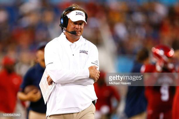 Head coach Lane Kiffin of the Florida Atlantic Owls reacts against the Bethune Cookman Wildcats during the first half at FAU Stadium on September 15...