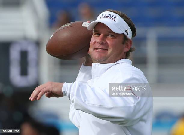 Head coach Lane Kiffin of the Florida Atlantic Owls throws the ball prior to the game against the North Texas Mean Green on October 21 2017 at FAU...